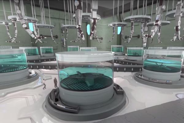 Le futur selon BAE Systems : des cuves où «poussent» des aéronefs sans pilote (capture écran). © DR