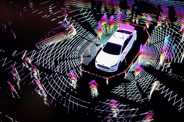 In Barcelona in 2014, Ford presented the screen of the Lidar detection system of its Fusion model (screen capture). © DR