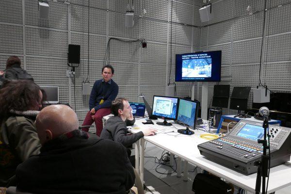 Visite de la nouvelle bibliothèque sonore 3D de l'Ircam. © Laurent Catala