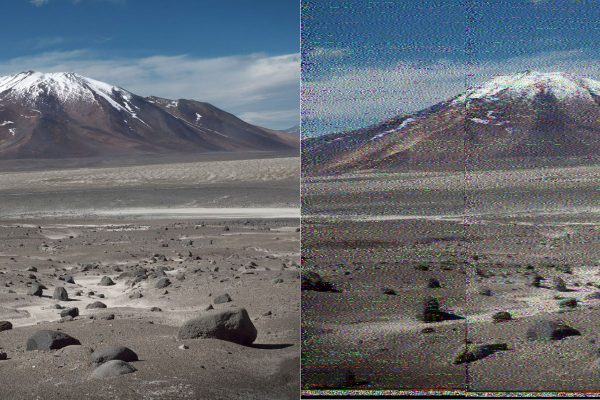 The image of Atacama desert and the one that has been bouncing of the Moon to Earth. © Daniela de Paulis / Benjamin Pothier / HERVE
